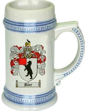 Baer Coat of Arms / Family Crest tankard stein mug