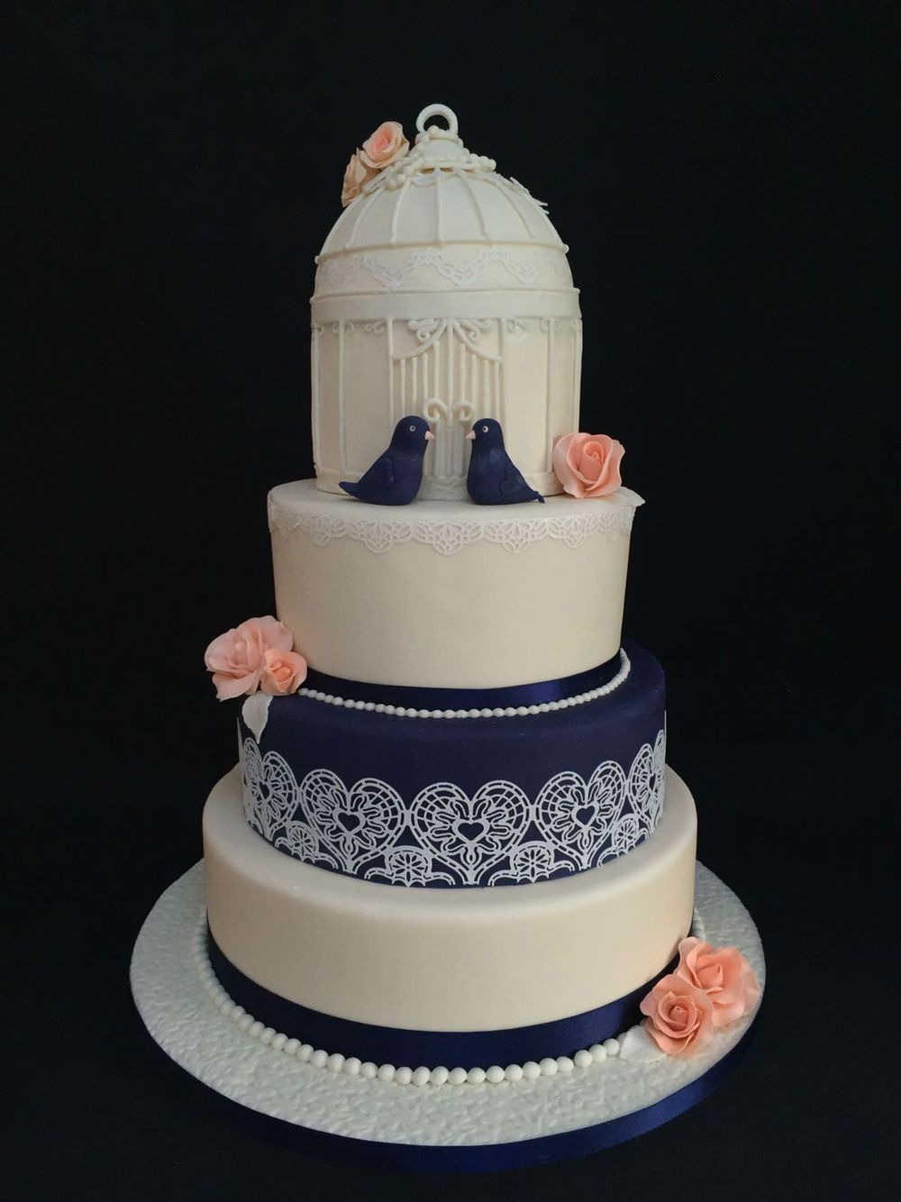 Navy blue and coral vintage birdcage wedding cake  My Other Half in 2019  Wedding cakes
