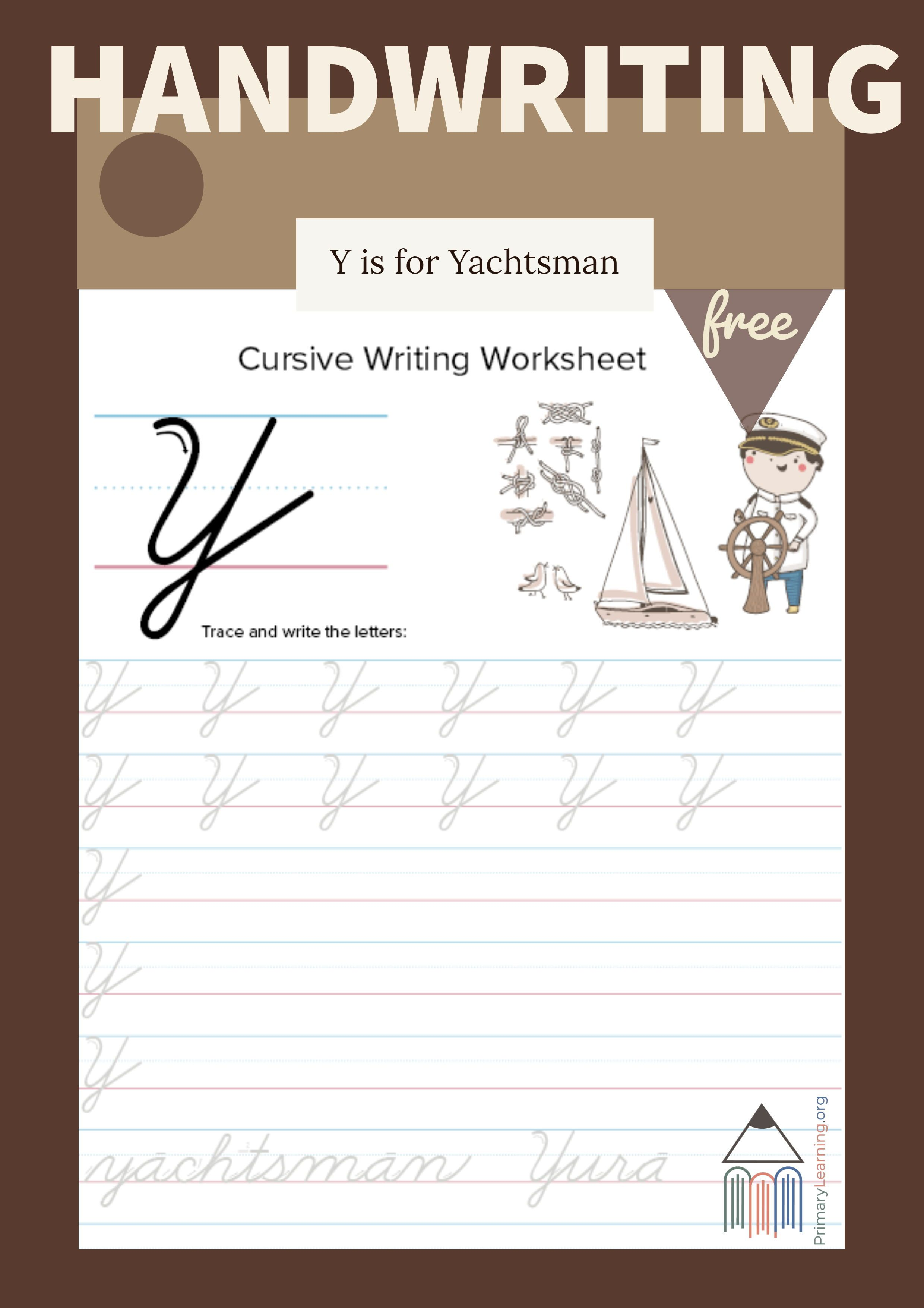 Cursive Uppercase Y Worksheet