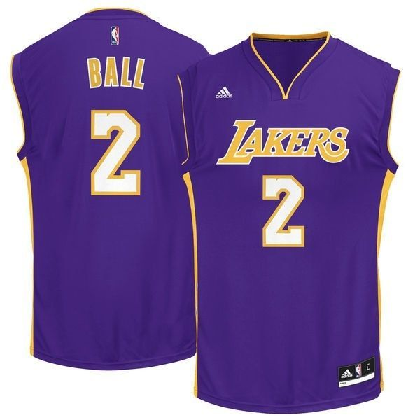 b81f82b7e NWT Lonzo Ball Los Angeles Lakers NBA Store Road Jersey Size Youth Large  14-16