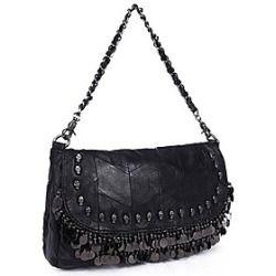 Fashion Women's Sheepskin Fashion Punk Style Sheepskin Rivet Tassel Shoulder Bag