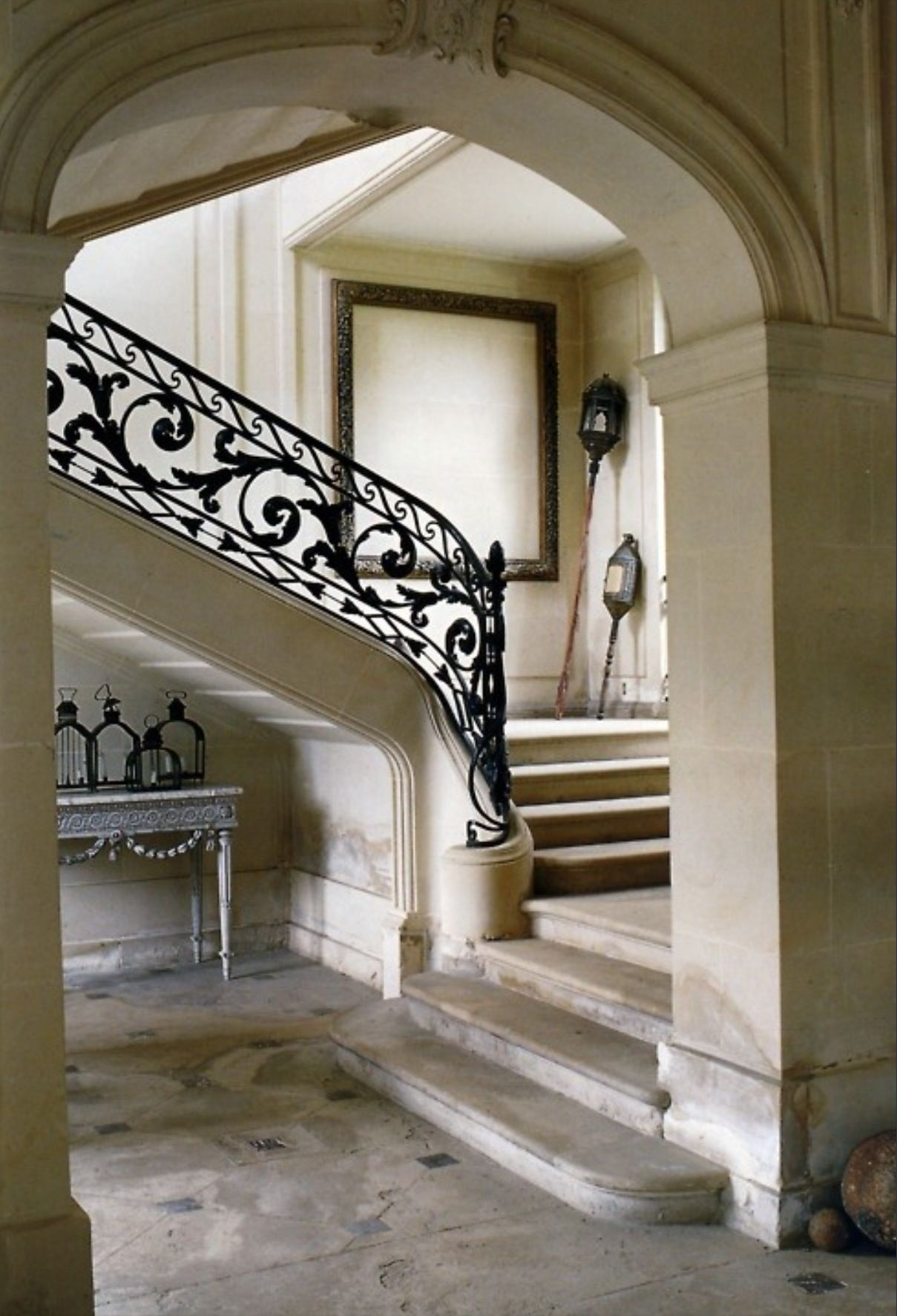 Beautiful Ornate Cast Iron Balustrade Stone Staircase
