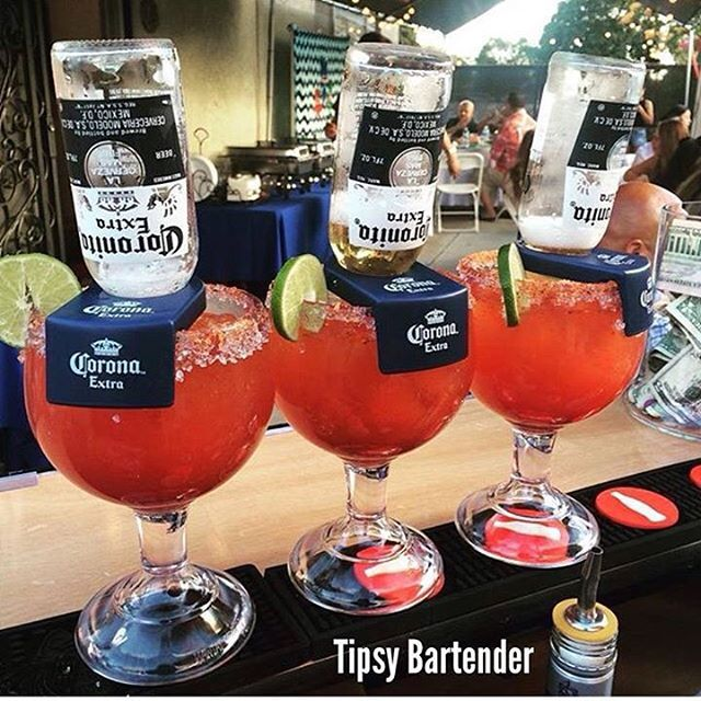 ▃▃▃▃▃▃▃▃▃▃▃▃▃▃▃▃▃▃▃▃ MICHELADAS  1 32-oz. Bottle Chilled Clamato (about 4 cups) 1 Corona  1/2 cup Fresh Lime Juice 1 1/2 tsp. Worcestershire Sauce 1 tsp. Hot Sauce (such as Tabasco) 1 tsp. Maggi Seasoning 2 Tbsp. Kosher Salt 1/2 tsp. Chili Powder Garnish: Lime wedges  Instagram Photo Credit : @tsbartending  Post your original recipe and photo on Instagram using#TipsyBartender and we will repost the best ones. Each month, the pics with most likes wins $300, 2nd Place $200, 3rd Place: $100…