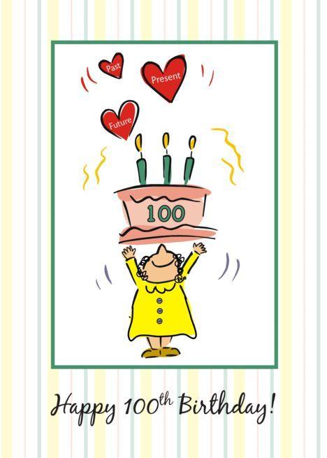 100th Birthday Cake And Hearts For Woman Card Geburtstagskarten