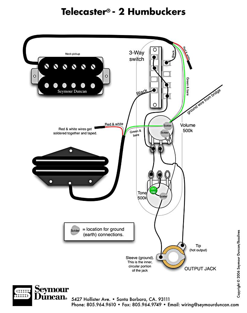 Tele Wiring Diagram with 2 humbuckers | Guitar pickups, Telecaster, Guitar  diyPinterest