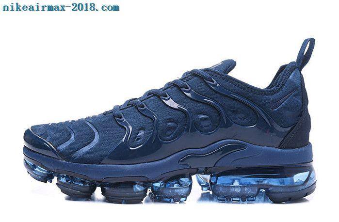 the best attitude bc6ec 75a47 2018 Nike Air Vapormax Plus Mens Sneakers Black Navy Blue