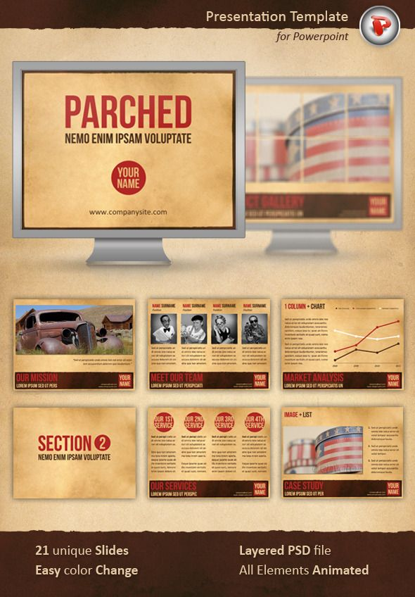 Parched Powerpoint Template — Powerpoint PPT #retro #old paper ...