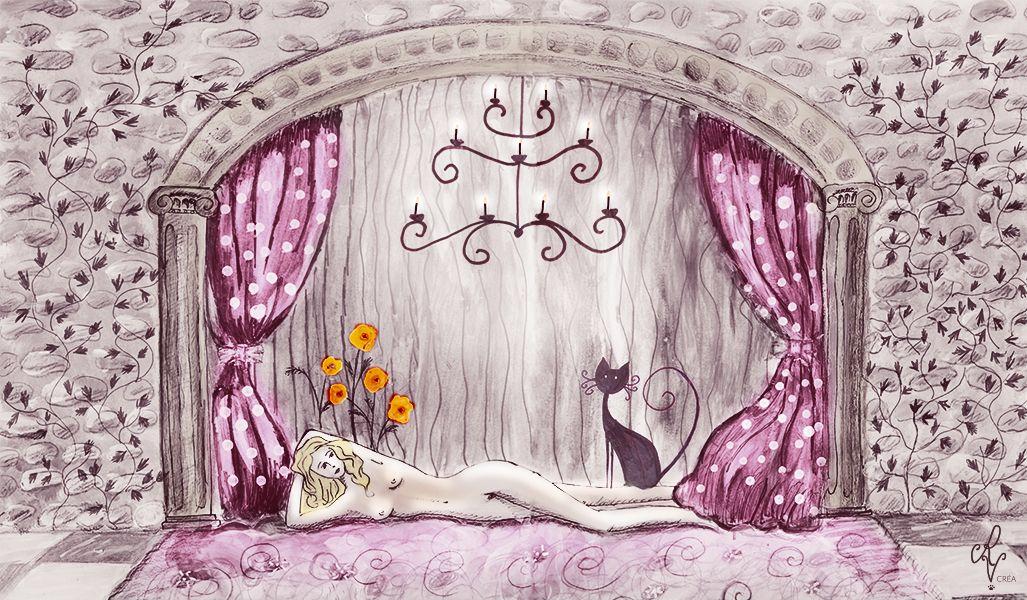 Laissez-vous emporter dans un voyage romantique et charnel, laissez-vous envoûter par des courbes sensuelles et des couleurs feutrées, framboisées.  Idéal pour un salon ou une chambre dans des couleurs élégantes et raffinées.