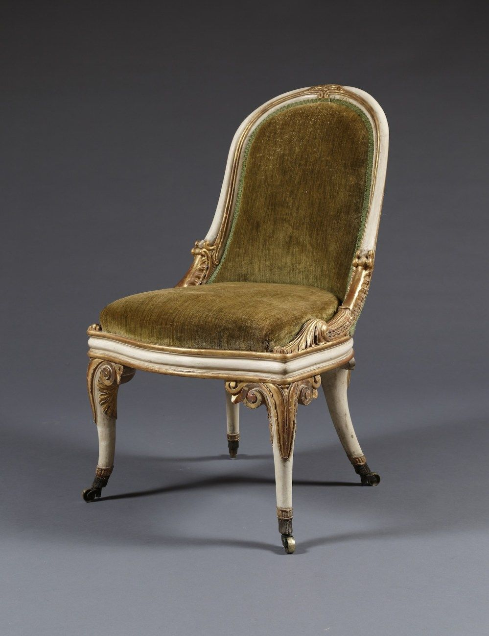 C1830 A Rare Pair Of White Painted And Parcel Gilt Salon Chairs In