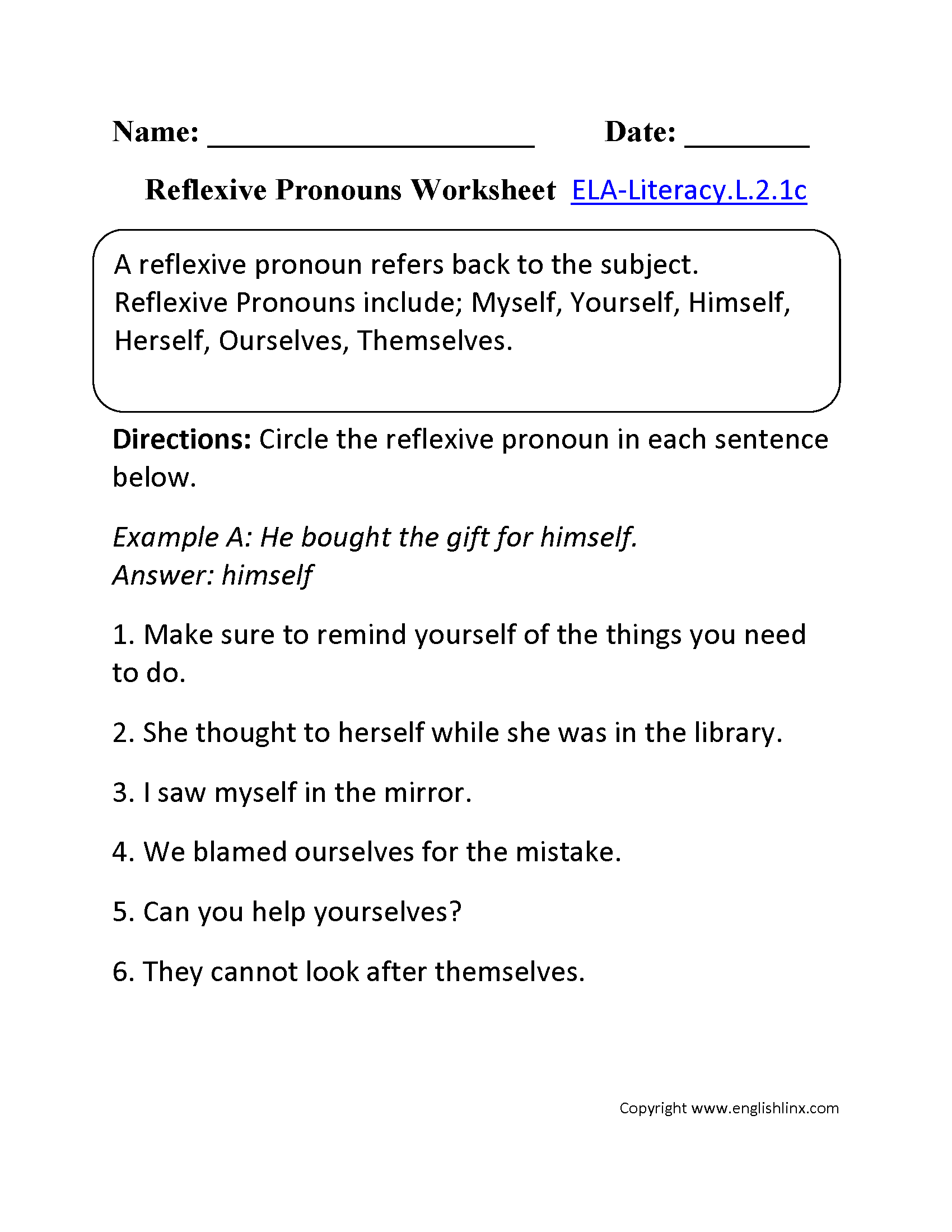 Reflexive Pronouns Worksheet 2 Ela Literacy L 2 1c