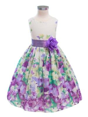 Purple/Lavender Colorful Floral Print Cotton Flower Girl Dress ...