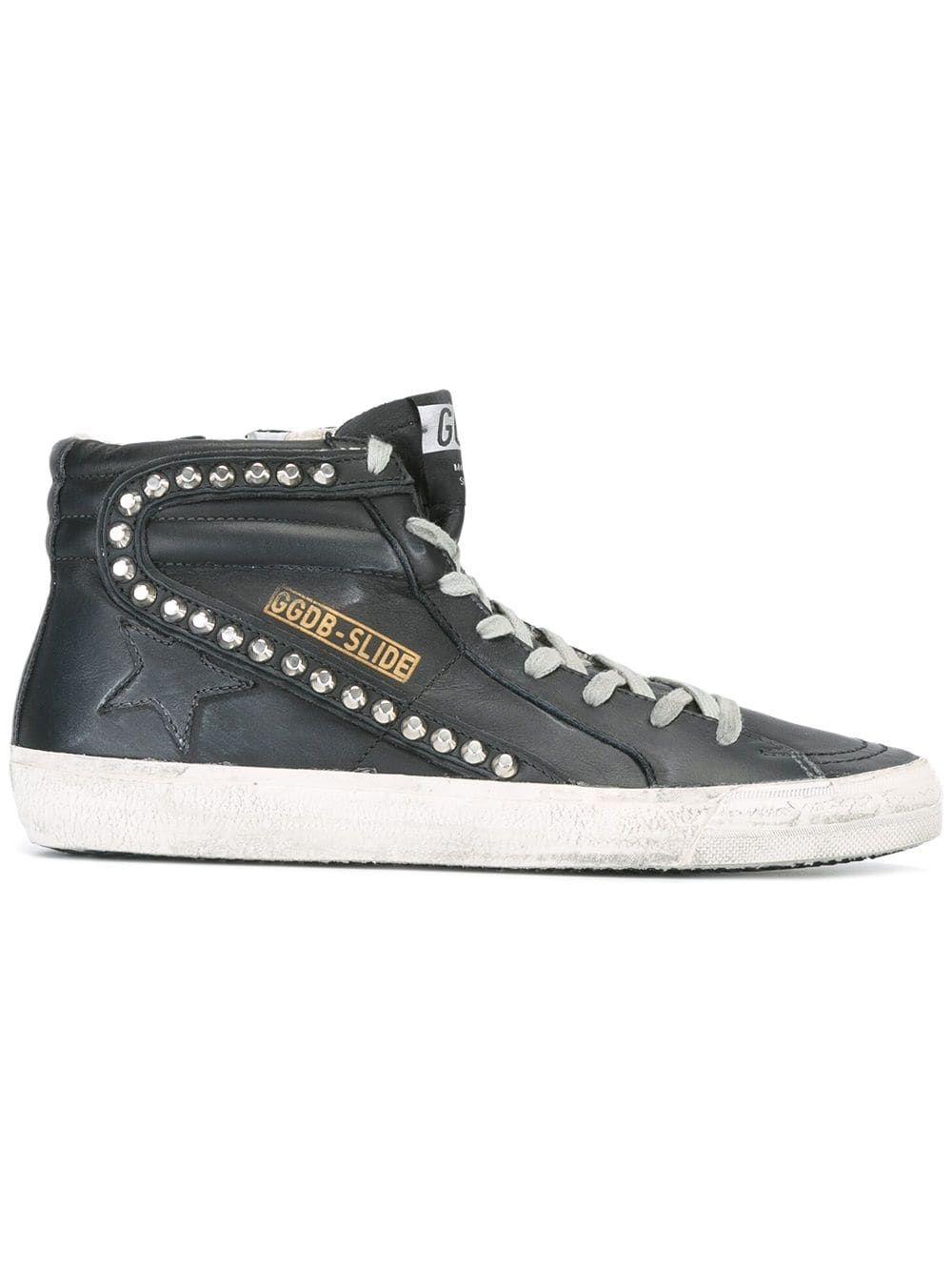 Golden Goose Slide Hi Top Sneakers Black Studded Sneakers Golden Goose Sneakers Outfit Top Sneakers