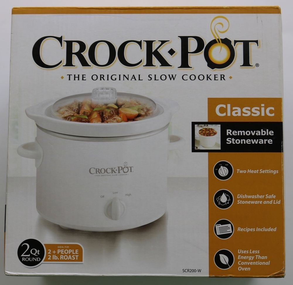 New White Sunbeam Crock PotR 2 Quart The Original Slow Cooker SCR200 W CrockPot