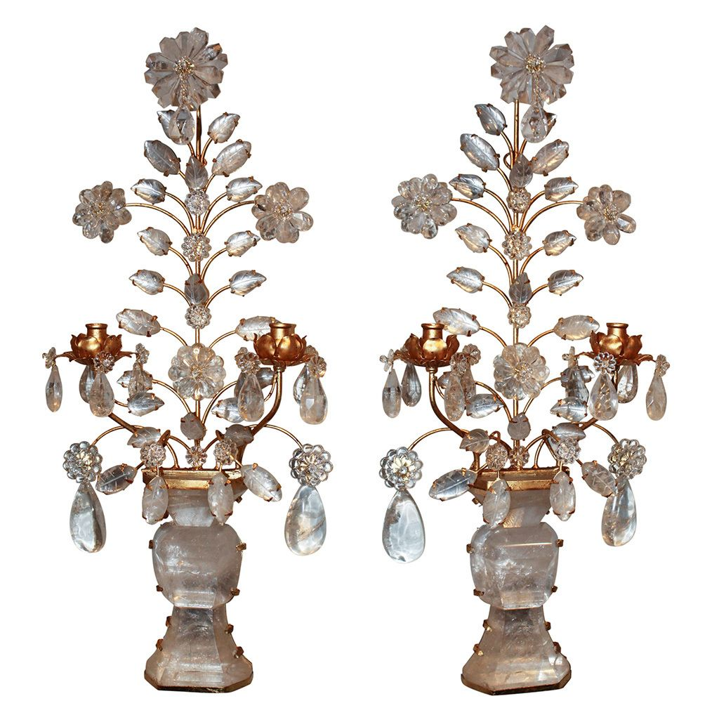 Italian Crystal Wall Sconces : Pair of Italian Gilt Tole & Rock Crystal Wall Sconces #antiquelighting www.rubylane.com ...