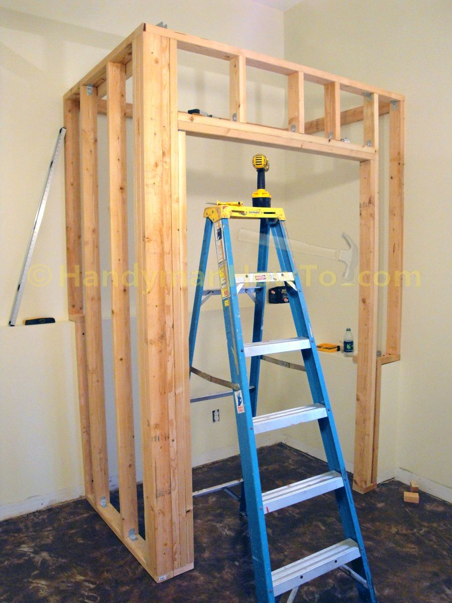 Basement closet framing door rough opening cripple studs for Rough cost to build a house