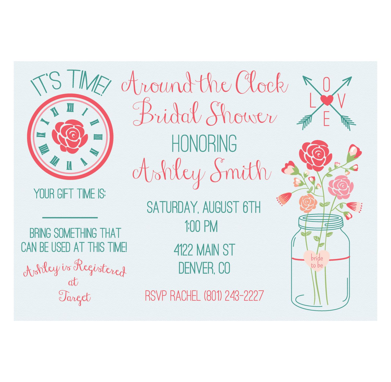 Around the Clock Bridal Shower Invitation Printable by DesignsAholic ...