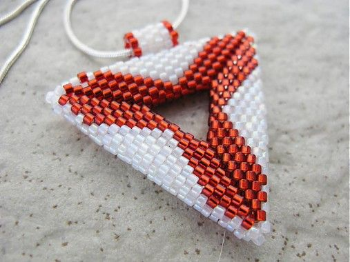 Ridgways / Geometria..bielo červená...náhrdelník