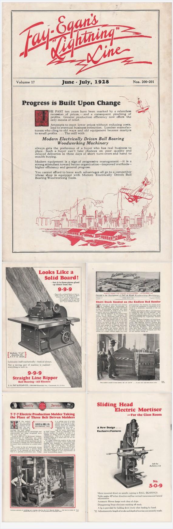1928 Fay-Egan's Lightning Line vintage Magazine J A Fay & Egan Cincinnati OH Woodworking