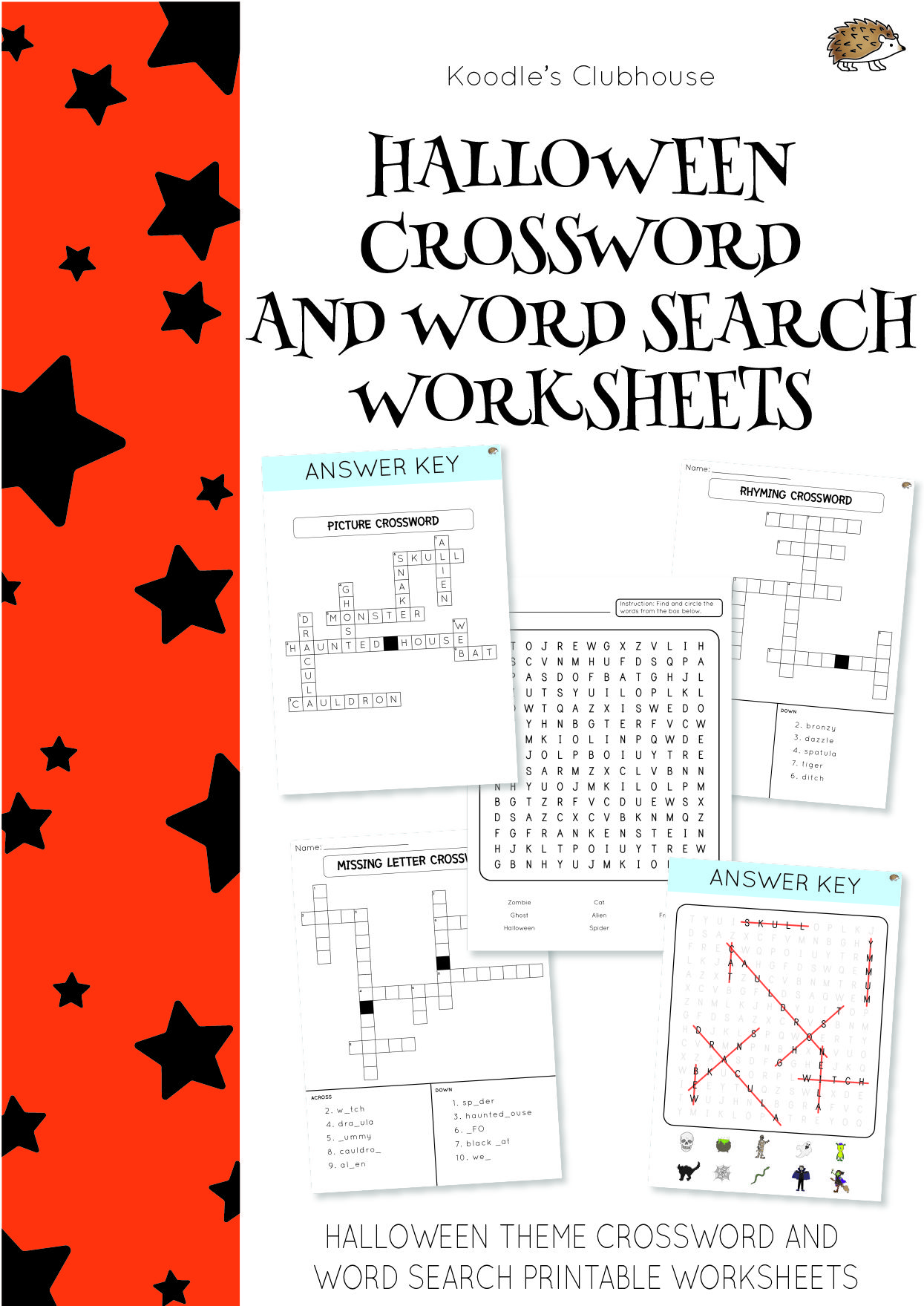 Halloween Crossword And Word Search Worksheets