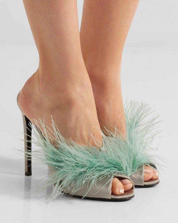 0eef698c2 PRADA Feather-embellished satin mules