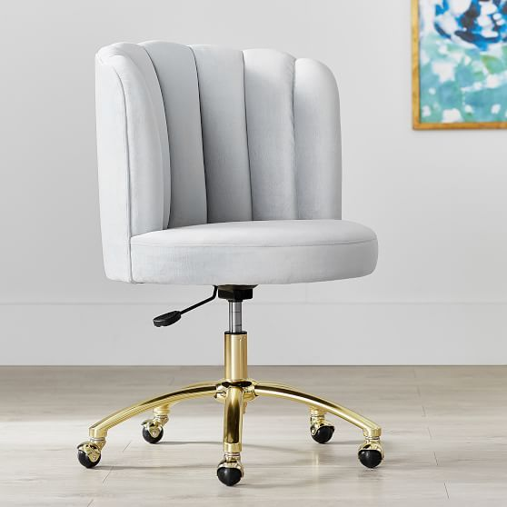 Marvelous Velvet Channel Stitch Swivel Desk Chair Teen Room Tufted Caraccident5 Cool Chair Designs And Ideas Caraccident5Info
