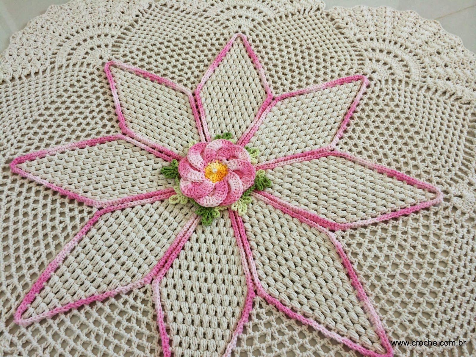 Tapete Redondo Flor Bergamota Croche Com Br Tapetes Lindos E  -> Tapete De Croche Redondo Passo A Passo