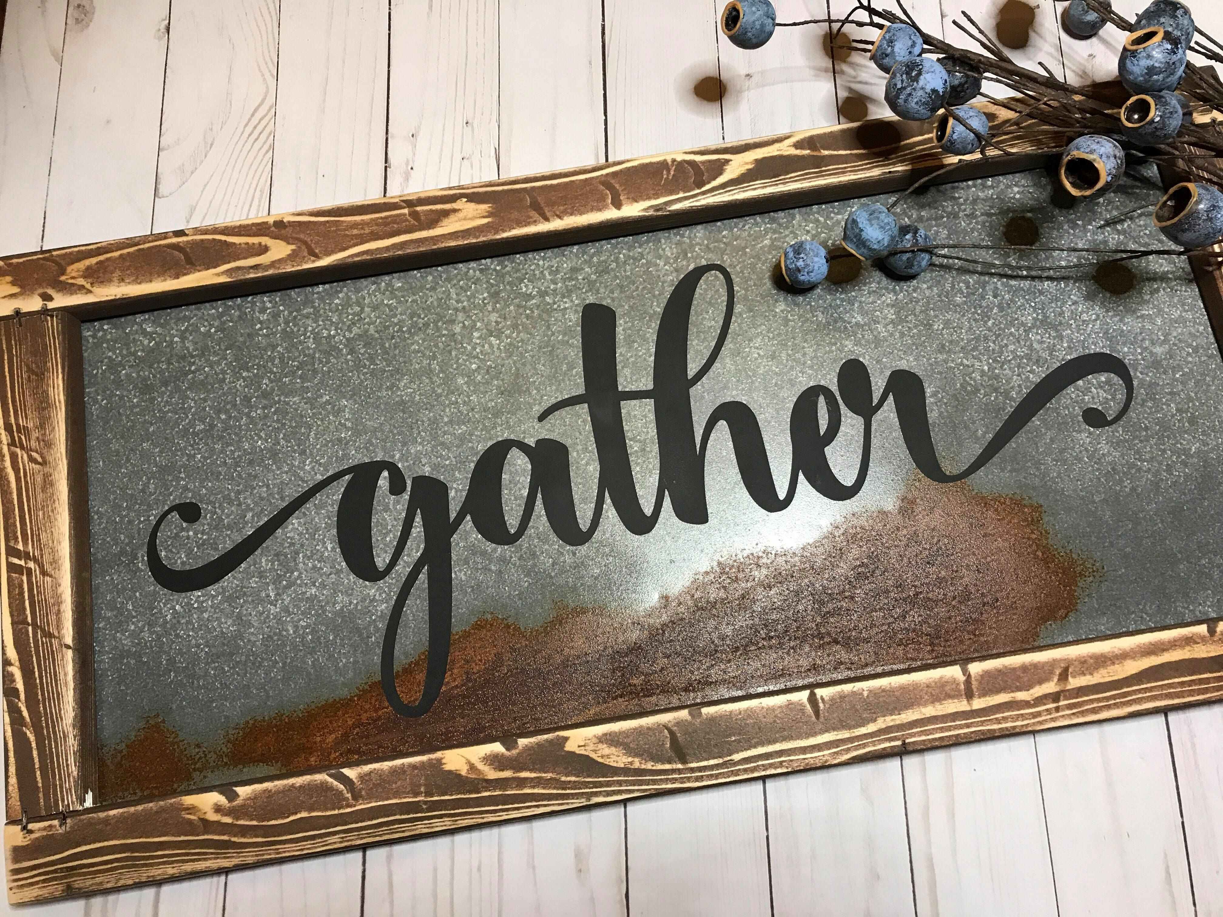 Handmade gather farmhouse sign made with antique