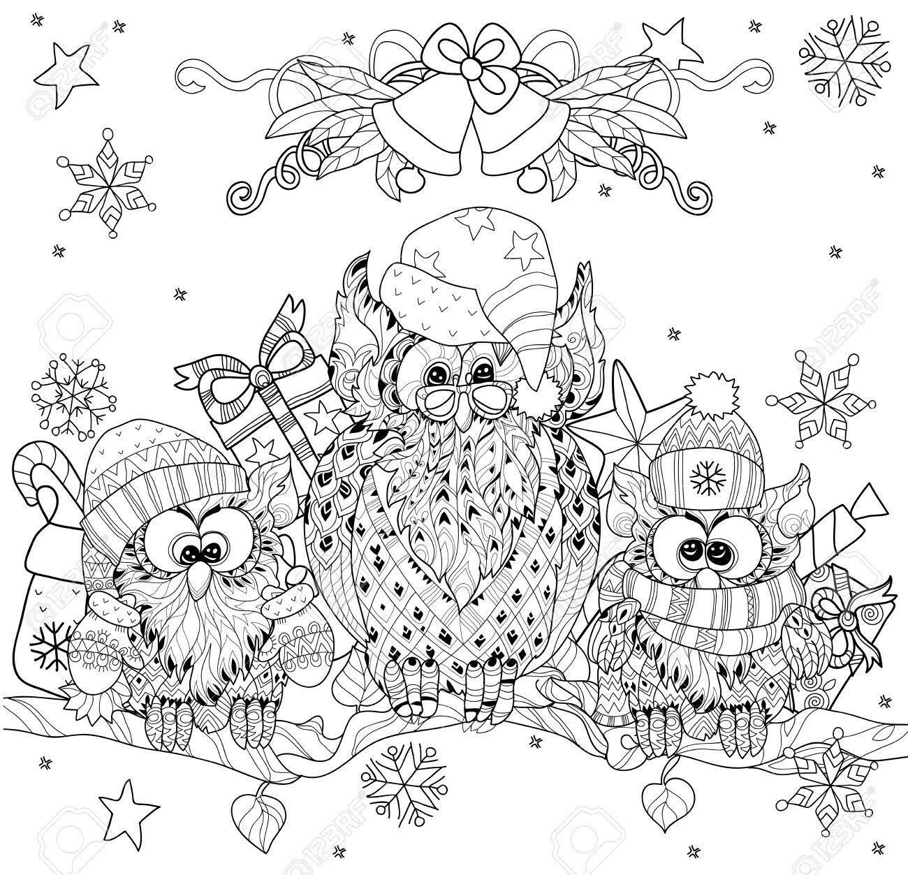 malvorlage eule weihnachten  zeichnen und färben
