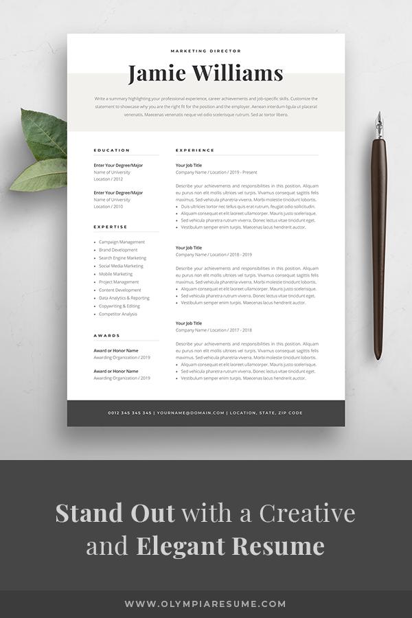 Modern Resume Template Creative Cv For Word Elegant Design Etsy In 2020 Creative Resume Templates Modern Resume Template Creative Cv