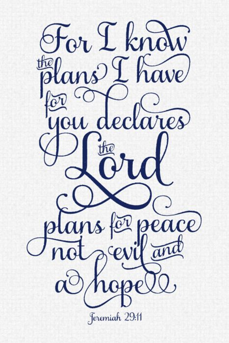 Jeremiah 2911 I Know The Plans I Have For You Designed By