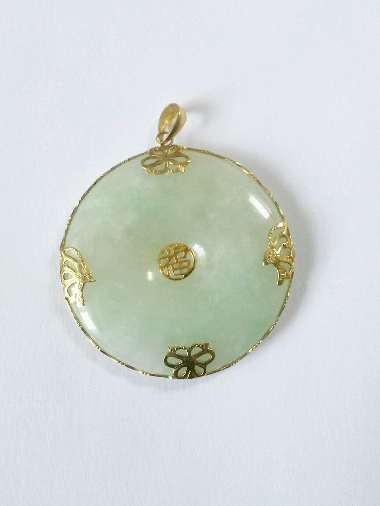 14k Yellow Gold Round Light Green Jade 15 Pendant Chinese Symbol