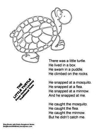 The Little Turtle A Singable Illustrated Poem Preschool Poems Turtle Activities Preschool Songs