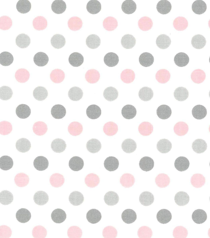 Nursery Baby Basic Fabric- Dots Gray White Pink | Fabrics ...