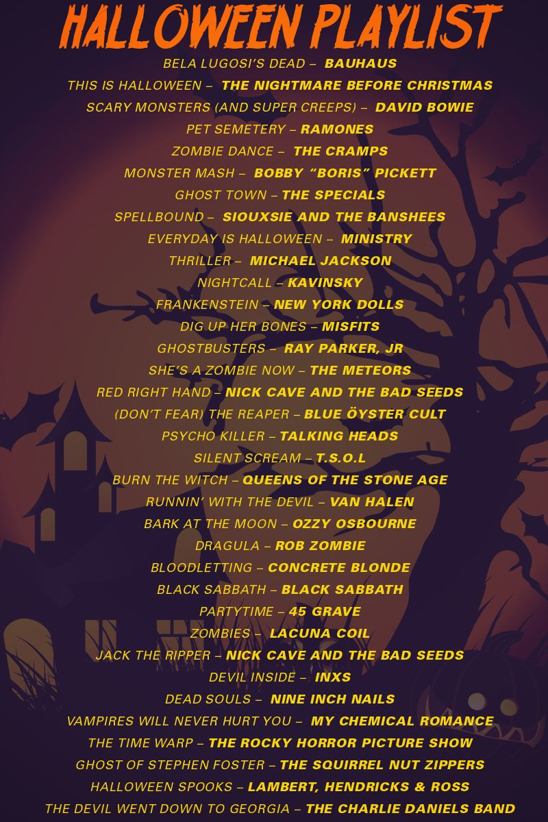 here are the top spooky songs for your halloween playlist - List Of Halloween Music