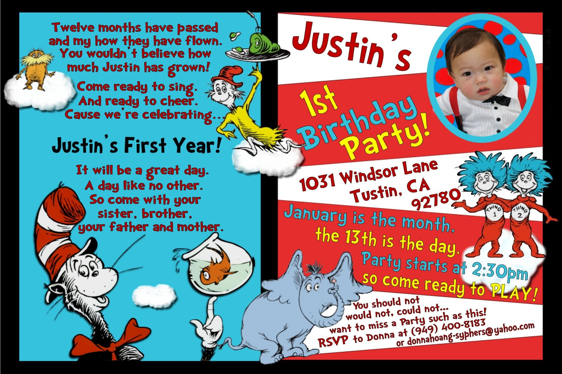Justin\'s 1st Dr Seuss Birthday The Yummy Year Project cakepins.com ...