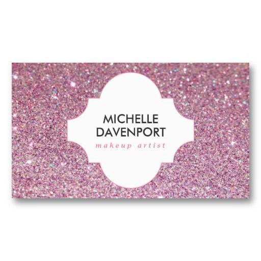 Pink glitter beauty, makeup artist, salon business card | Salon ...