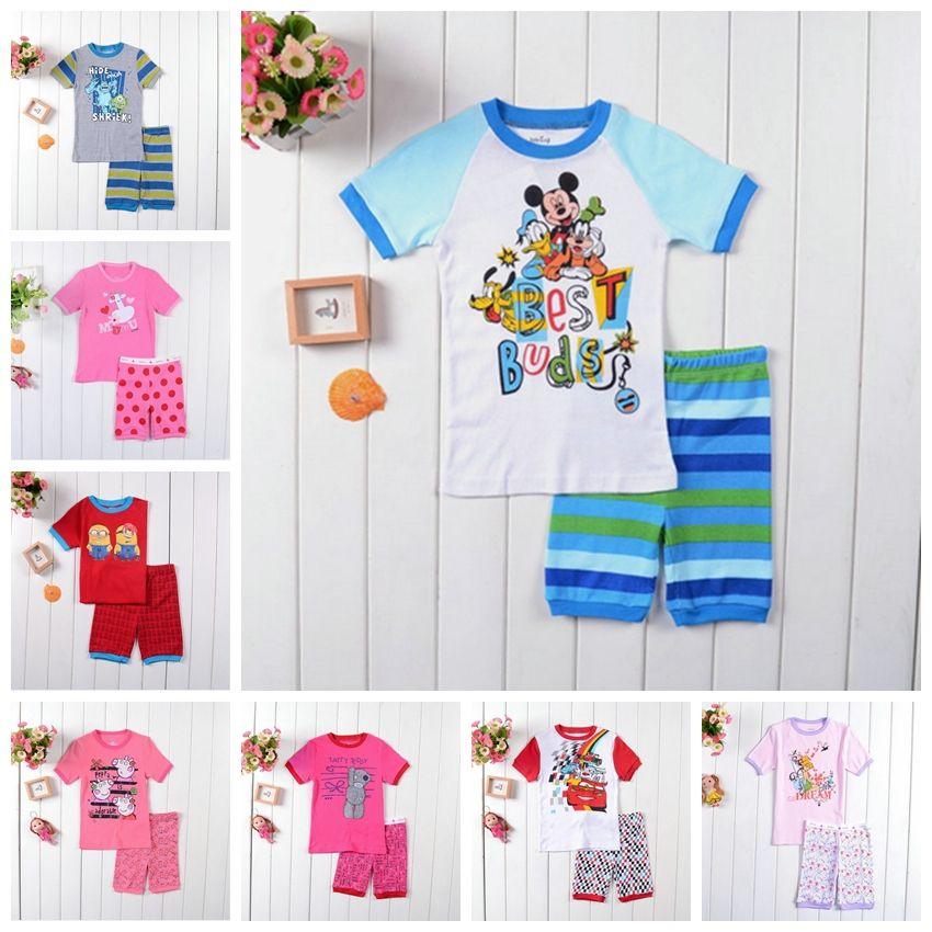 2014 New Kids desgaste do verão dos desenhos animados do bebê Pijamas Grils Sofia Pijamas Meninos PJS Mickey Pijamas Roupas definir Crianças impresso Sleepwears