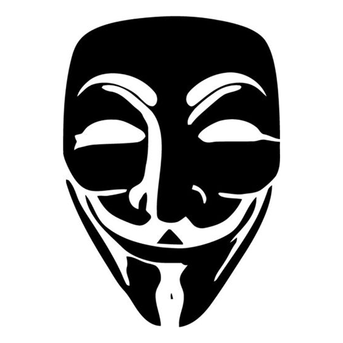 Anonymous guy fawkes mask die cut vinyl decal for windows vehicle windows vehicle body surfaces or just about any surface that is smooth and clean