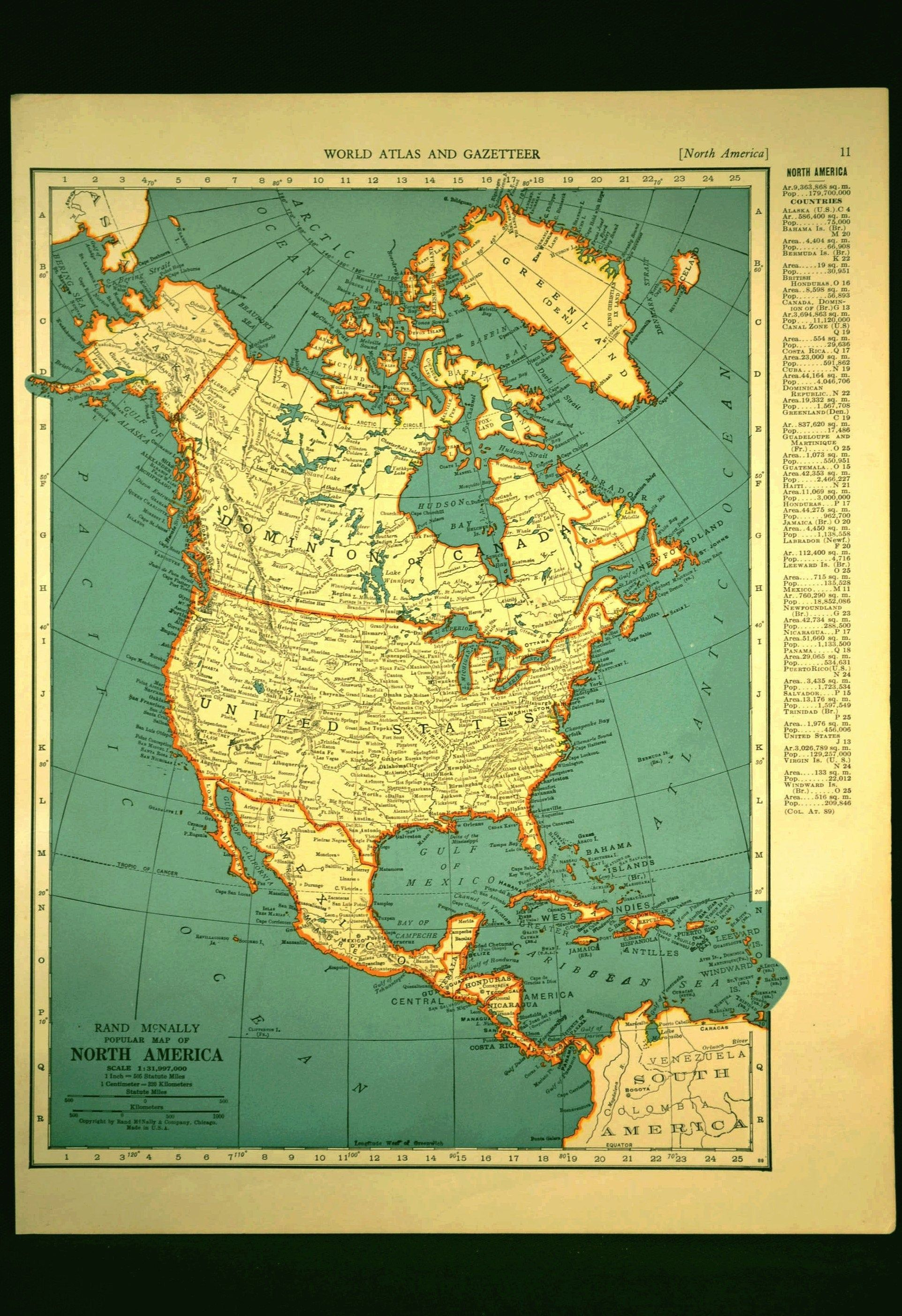 North America Map Of North America Wall Decor Art Vintage
