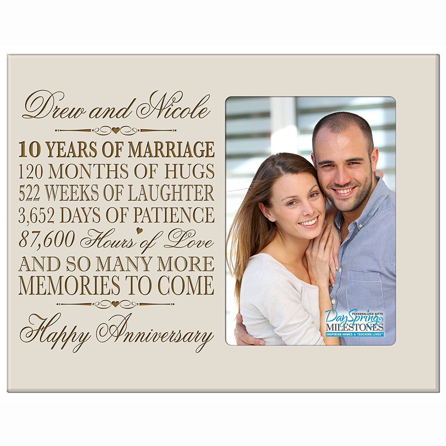 Personalized Ten Year Anniversary Gift Her Him Couple Custom Engraved 10th Year Weddin Wedding Anniversary Pictures Engraved Wedding Gifts Anniversary Pictures