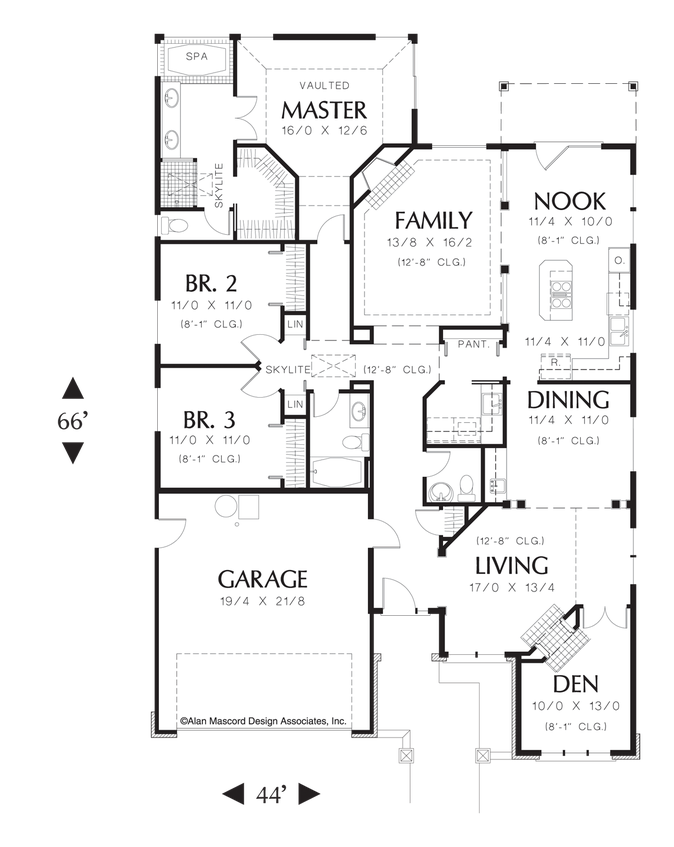 Mascord House Plan 1212 The Sutherland Narrow House Plans Ranch House Plan Floor Plans