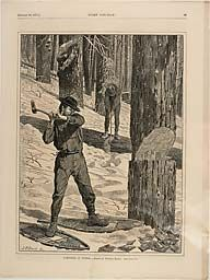 """@ Art Institute of Chicago — Winslow Homer, published by Every Saturday (American, 1866-1874), """"Lumbering in Winter"""" published January 28, 1871"""