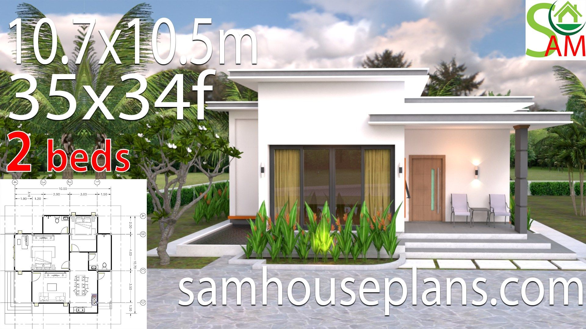 House Plans 10.7x10.5 with 2 Bedrooms Flat roof in 2020