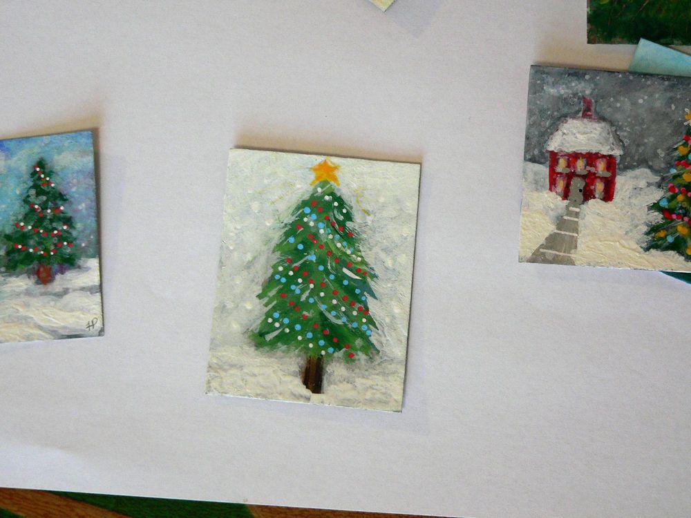 Snowy Red White  Blue Christmas Tree MINIATURE ORIGINAL PAINTING