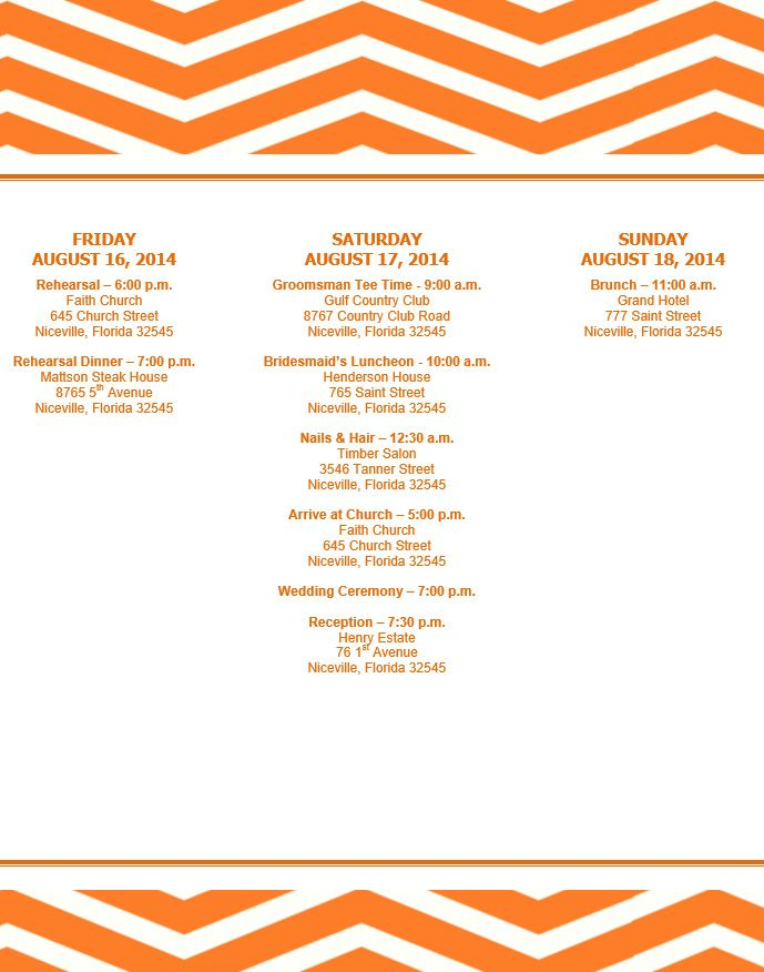 Zig Zag Orange Wedding Itinerary Template Download On Bridetodo