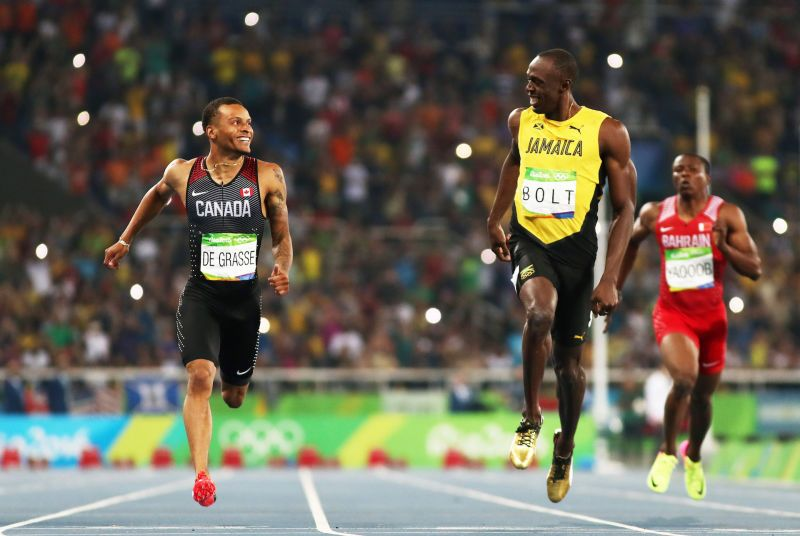 In the semifinal this evening, Canadian Andre De Grasse mounted a challenge to Bolt after the Jamaican had already slowed up. So Bolt looked over, laughed, and accelerated in for the win. Don't try to clown this man.