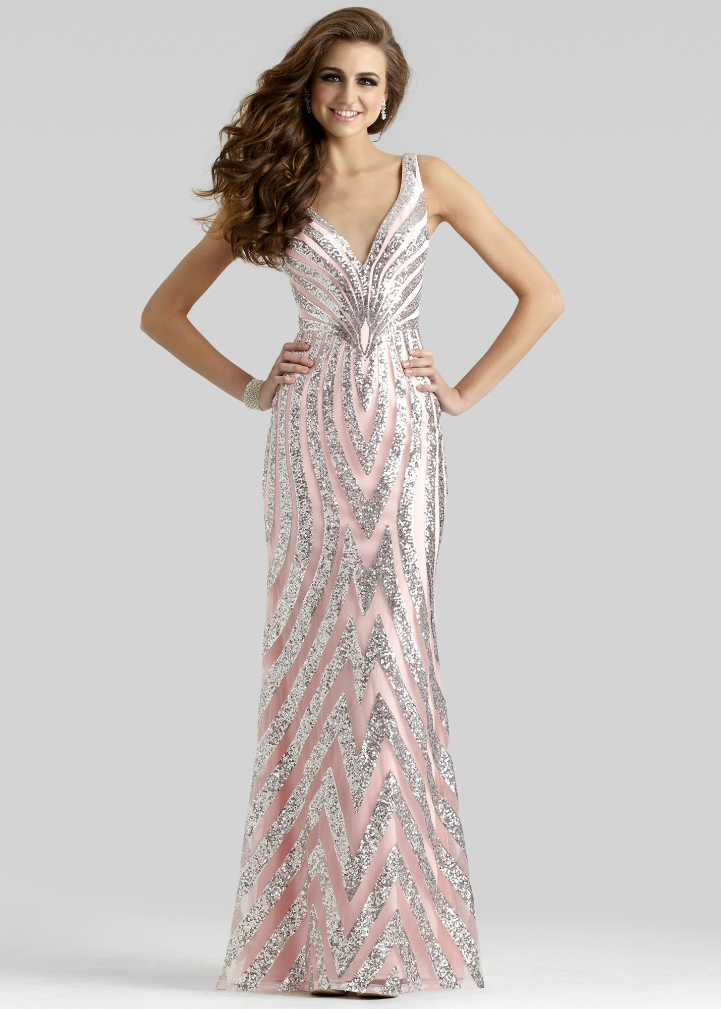 Clarisse pinksilver sequin vneck prom dress stuff to buy