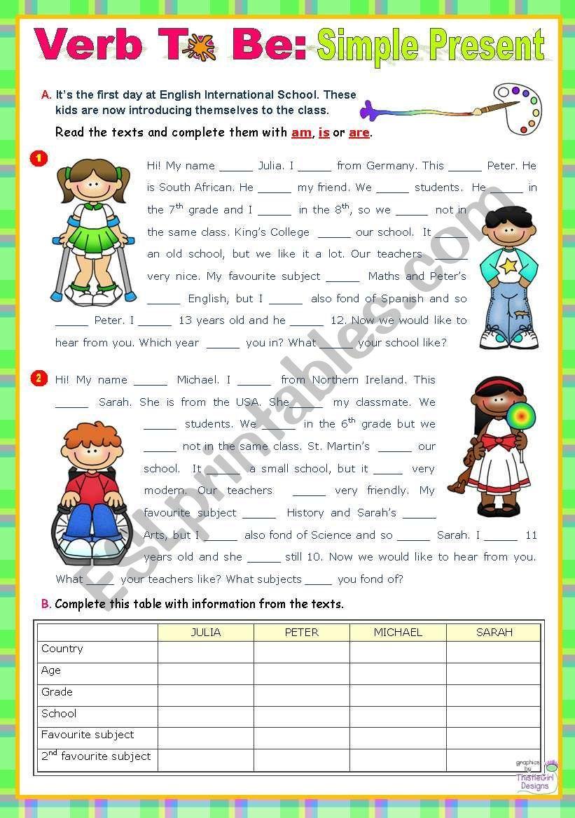 Verb To Be Simple Present Focus On Reading Writing Skills Grammar 90 Minute Class Verb Writing Skills English Language Teaching [ 1169 x 821 Pixel ]