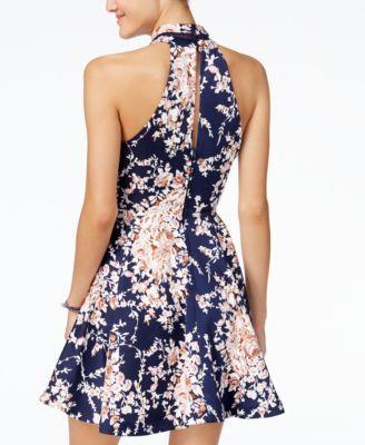 7c386e1f5b54 B Darlin Juniors' Printed Mock-Neck Crochet-Trim Fit & Flare Dress - Blue  13/14