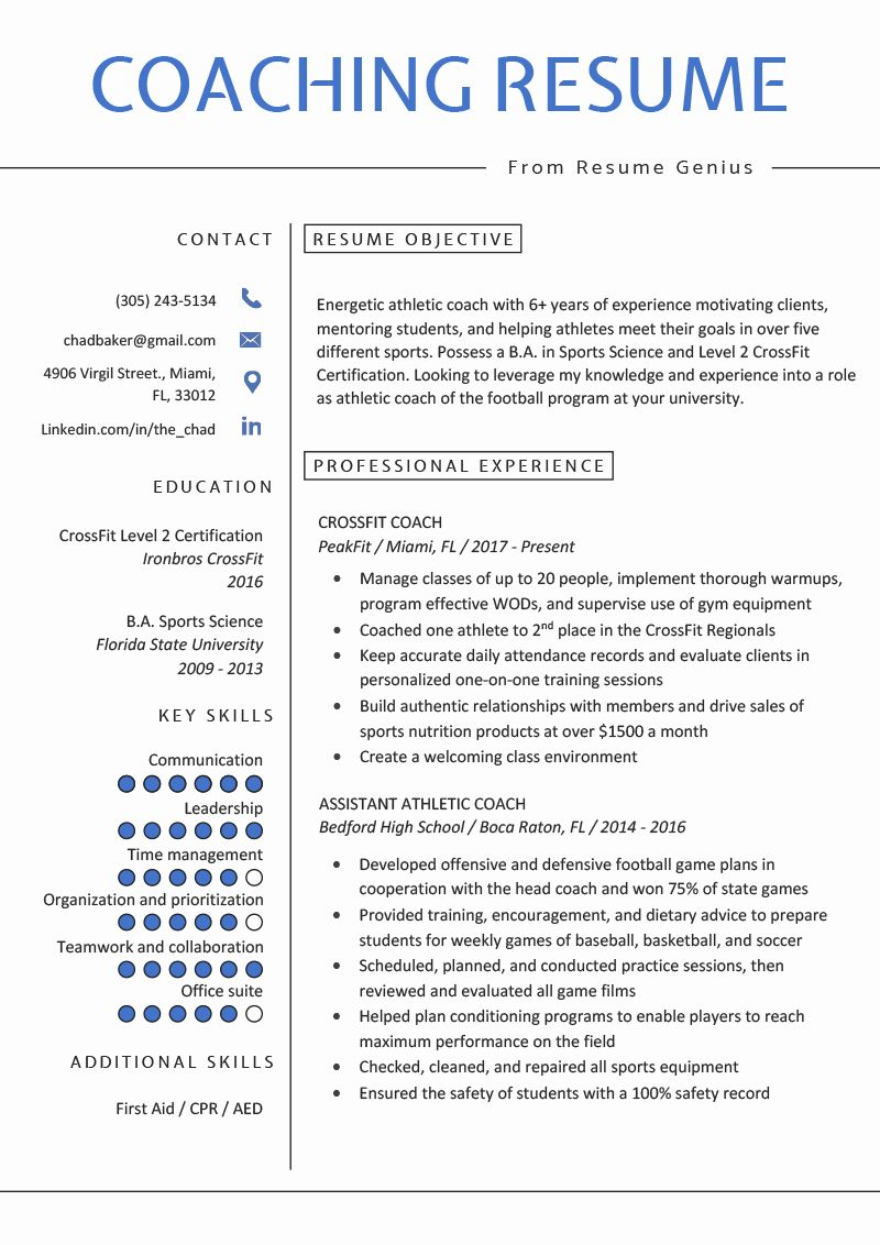 Sports Resume for Coaching Inspirational Coaching Resume